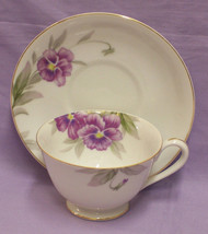 CHINA CUP SAUCER WHITE METALLIC GOLD TRIM PURPLE FLOWER - $13.85