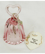 Fenton mini bell pink glass heart shaped handle scalloped bottom - $13.86