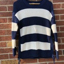 Talbots Sweater Striped Side Ties Pullover Scoop Neck Womens petite Larg... - $26.17
