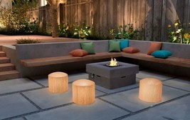 THREE OUTDOOR PATIO OR INDOOR BAMBOO STYLE GLOWING ILLUMINATED STOOL SEAT - $997.50