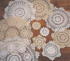 Round Handmade Crochet Lace Floral Vintage Doily, Sold by Piece, 2 Colors - $0.99+