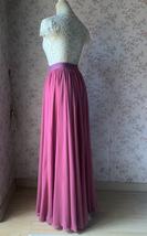 2021 Floor Length Chiffon Skirt High Waist Wedding Skirt Outfit Plum Plus Size  image 5