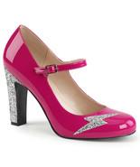 PLEASER PINK LABEL Queen-02 Series 4in Heel Pumps - Hot Pink Patent-Silver Glitt - $45.95