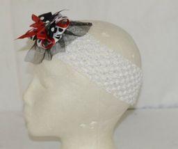 Unbranded White Headband Large Polka Dot Bow Red White and Black image 3