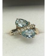 Art Deco Style 14K Yellow Gold Aquamarine and Diamond Ring (Size 4 3/4) - $395.00