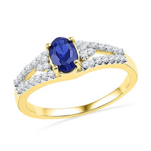 10k Yellow Gold Oval Lab-Created Blue Sapphire Solitaire Diamond Ring 1.... - £176.87 GBP