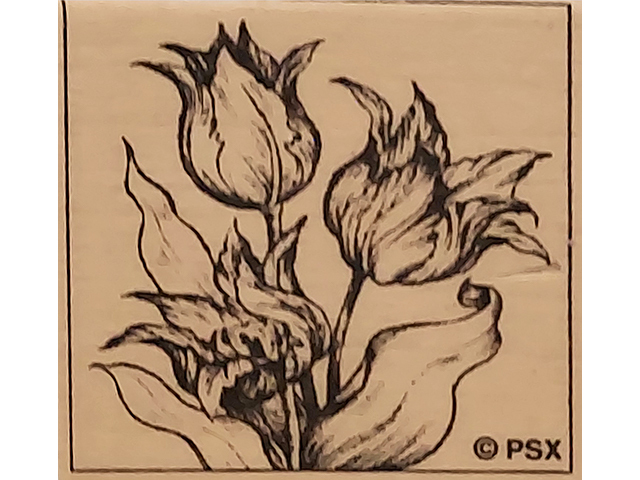 Vintage Personal Stamp Exchange (PSX) Tulips Wood Mounted Rubber Stamp