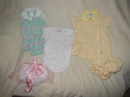 Baby Girl/Doll Infant 0-3 Month Ralph Lauren 3 Piece Lot Bundle Clothes ... - $26.72