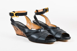 Chloe Black & Tan Leather & Cork Wedge Ankle Strap Sandals SZ 40.5 - $50.00