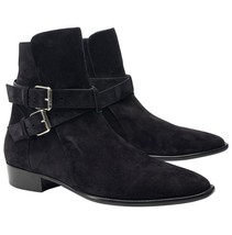 Handmade Men Black Suede leather Jodhpurs Ankle boots, Men casual Style boots - $179.99