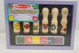 Melissa Doug Stamp Set Wooden Happy Handle Set of 6 Crafting Kit Multi C... - $21.29
