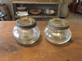 A Pair (2) of RARE Vintage Clear Glass Jar Ashtrays Made by Anchor Hocking - $14.95