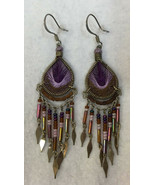 Dream Catcher Earrings Silver Tone Metal Purple Seed Beads Metal Wire Pair - £12.34 GBP