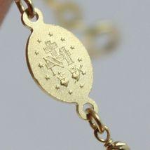 Bracelet en or Jaune 750 18K, Rolo, Billes à Facettes Médaille Miraculeuse image 3