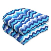 Pillow Perfect Outdoor Panama Wave Wicker Seat Cushion, Azure, Set of 2 - £30.08 GBP