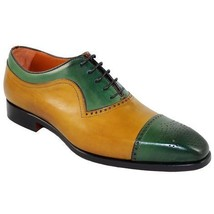 Handmade Men's Two Tone Yellow and Green Brogues Style Oxford Leather Shoes image 3