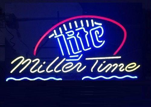 "New It's Miller Time Miller Lite Beer Football Neon Light Sign 20""x16"""