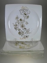 Wedgwood Plato Gold Accent Square Floral Plates Set of 4 - $62.32