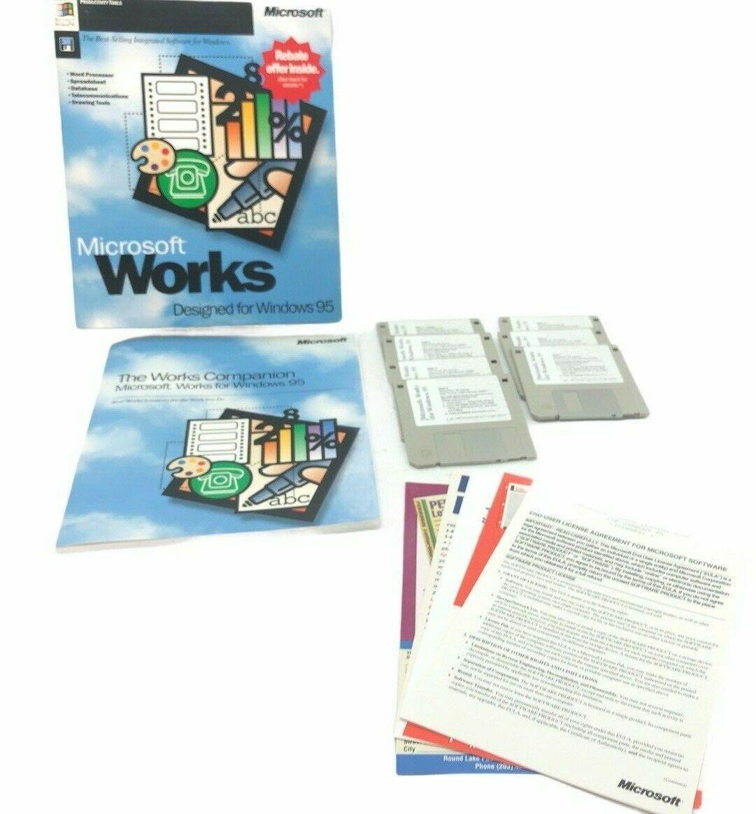 Microsoft Works 4.0 for Windows 95 Vintage Big Box PC Software Application 1-7 D - $51.19