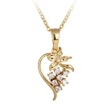 Flower Pendant 18K Gold Platinum Galvanization Austrian Zircon   yellow - $10.88