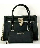 MICHAEL KORS HAMILTON BLACK SPECCHIO LEATHER SATCHEL+/OR MATCHING WALLET... - $94.99+