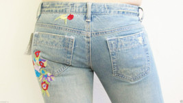 New Joes Navens Vintage Distressed Bootcut Denim Jeans Sz 26 2 Embroider... - $36.58