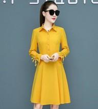 Trendy Long Sleeve Turn-down Collar A-line Slim Waist Belted Autumn Fall... - $16.99