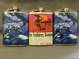 Set of 3 Ocean Beach Theme Flasks 8oz Stainless Steel Hip Drinking Whiskey - $17.38
