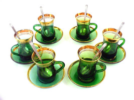 Espresso Coffee set Green/Gold Trim and Silver Spoons - Vintage -18 Pcs - $31.49