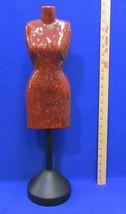 Torso Dress Form Red Ceramic Display Jewelry Tabletop Black Metal Pedest... - $46.98