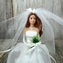 Blushing Bride Barbie Ornament Christmas Hallmark 2002 Brunette Cake Topper - $12.86