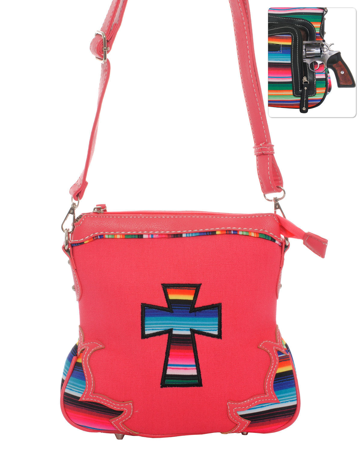 Serape Striped Messenger Bag Cross Body Purse Coral Concealed Carry Gun Pocket
