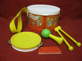 Vintage 1979 Fisher Price Toy Drum Marching Band Musical Set - $19.79