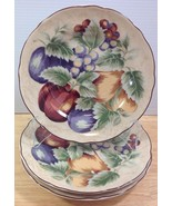 Napa Valley Noble Excellence 3 Round Salad Plates Fruit Grapes Apples In... - $31.78