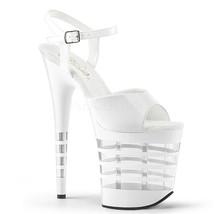 "Sexy Stripper Dancer 8"" High Heel Lined Platform White Shoes Sandals PLE... - $68.95"