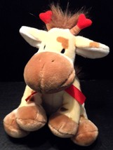 "Plush Giraffe Stuffed Animal Hearts 10"" sitting pellets Russ Berrie Appl... - $13.92"
