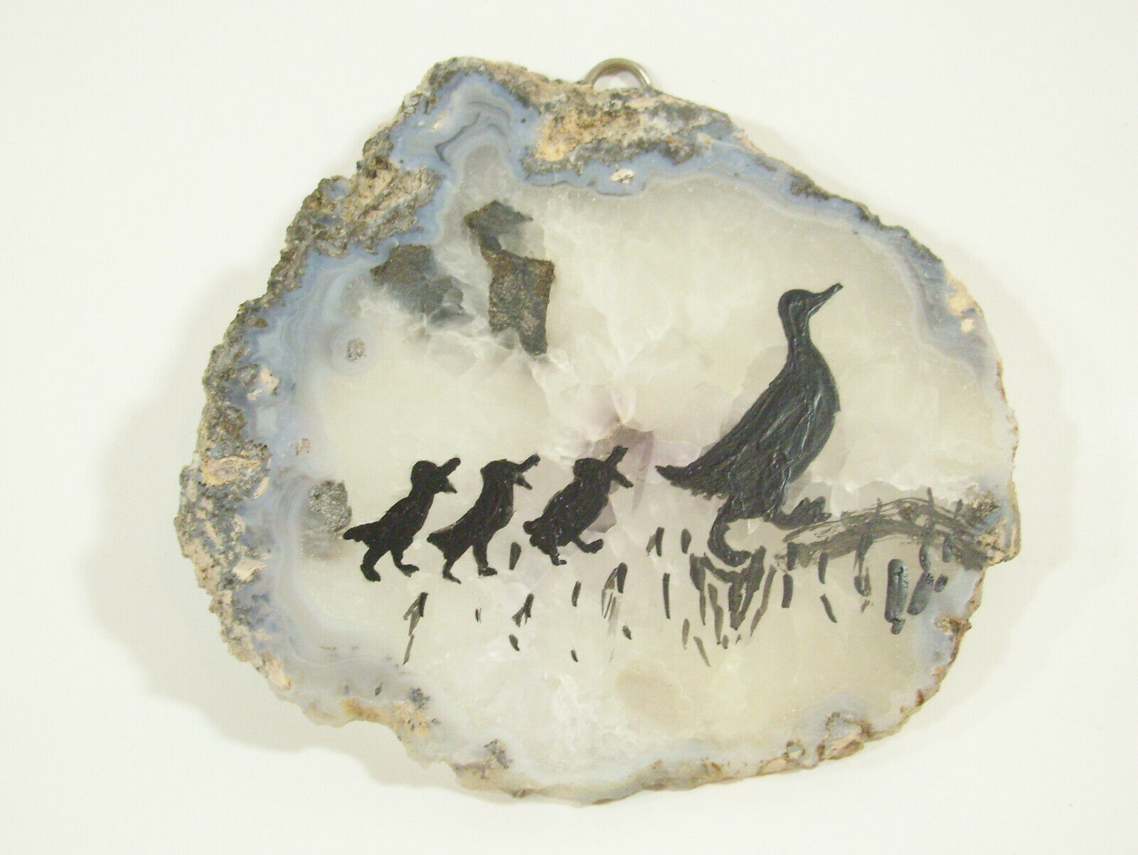 Silhouette Ducks Hand Painted on Geode Stone Slice Folk Art Wall Hanging Plaque image 7