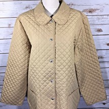 Sag Harbor Womens Quilted Jacket Blazer Plus Size 1X Tan Beige Brass Gold - $34.01