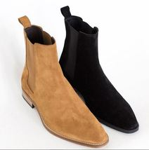 Handmade Men's Tan and Black Suede High Ankle Chelsea Boots 2 PAIR  image 1