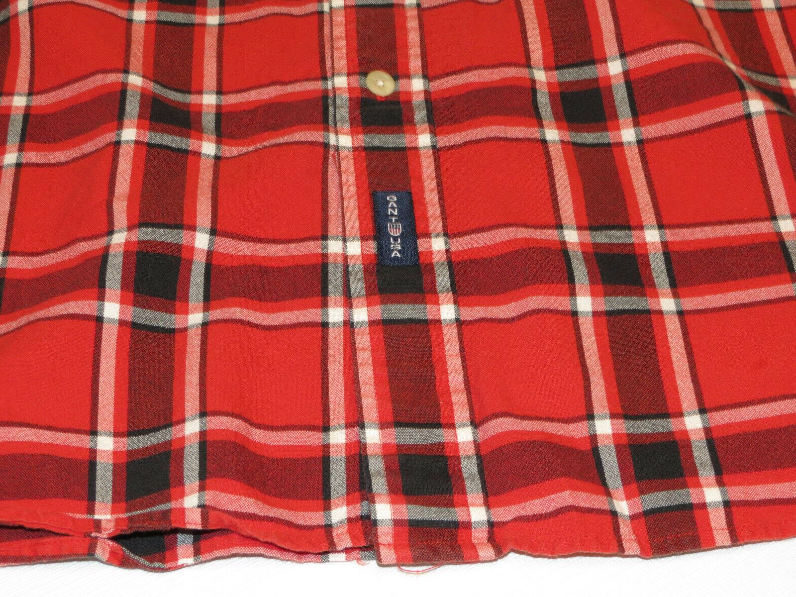 Gant Nuovo Haven Oxford da Uomo Manica Lunga Camicia Coi Bottoni XL Rosso Plaid