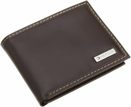 NEW TOMMY HILFIGER MEN'S LEATHER CREDIT CARD ID WALLET BILLFOLD BROWN 31TL22X053 image 1