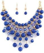 Beautiful sparkling beaded blue bib fashion sta... - $14.07