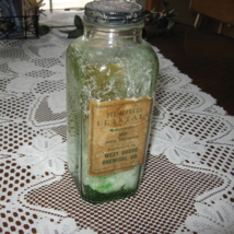 VTG Bottle-Norine Crystals-Square-Green-Original Label/Lid- Owens IL Glass-USA - $8.00