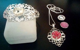 Fancy Silver necklace and bracelet set + 4 snaps 18 mm - $12.84