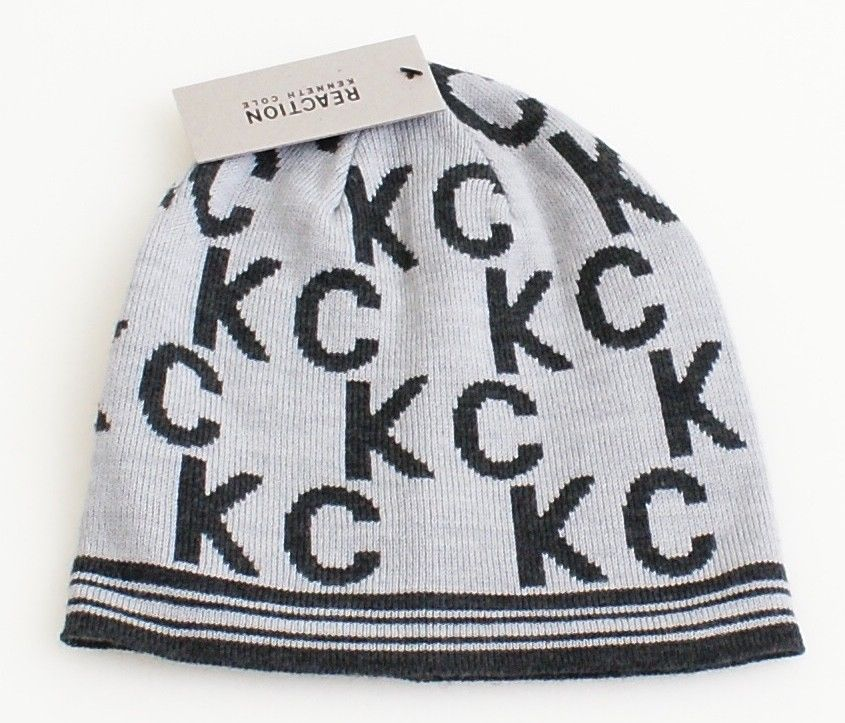 Kenneth Cole Reaction Gray Knit Beanie Skull Cap Adult One Size NWT -  28.21 856e0dcae20