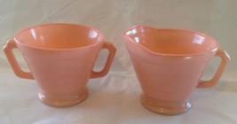 Pink Footed Sugar &  Creamer Modertone Platonite  - $10.88