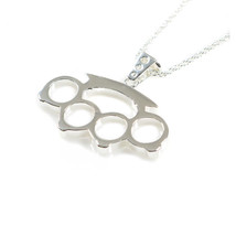"Han Cholo Brass Knuckles Pendant Silver Necklace 24"" - $46.33"