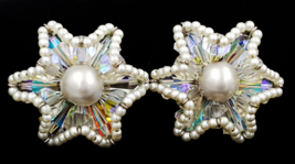 Vendome Earrings  Vintage Rhinestone  Faux Pearl Starburst  Published Book Piece - $29.00