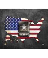 """United States Army Patriotic Flag Map 9"""" x 11"""" Framed Photo - $29.99"""