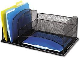 Horizontal Desk Organizer Office Supplies Contemporary Steel Mesh Black ... - $45.25